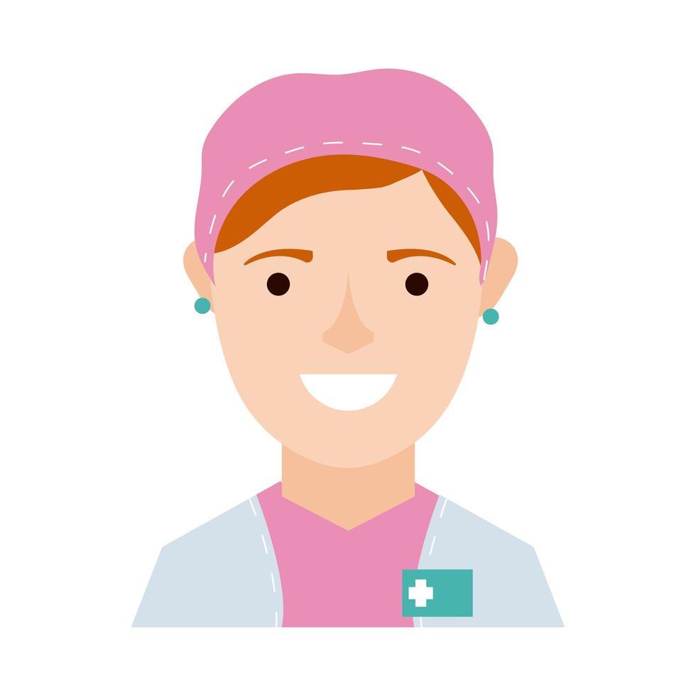 icône de style plat de caractère chirurgien féminin vecteur