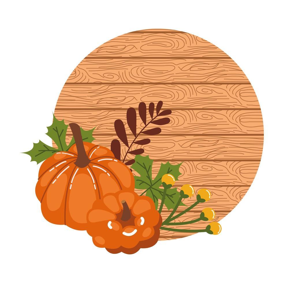 citrouilles d'automne avec fond en bois vecteur