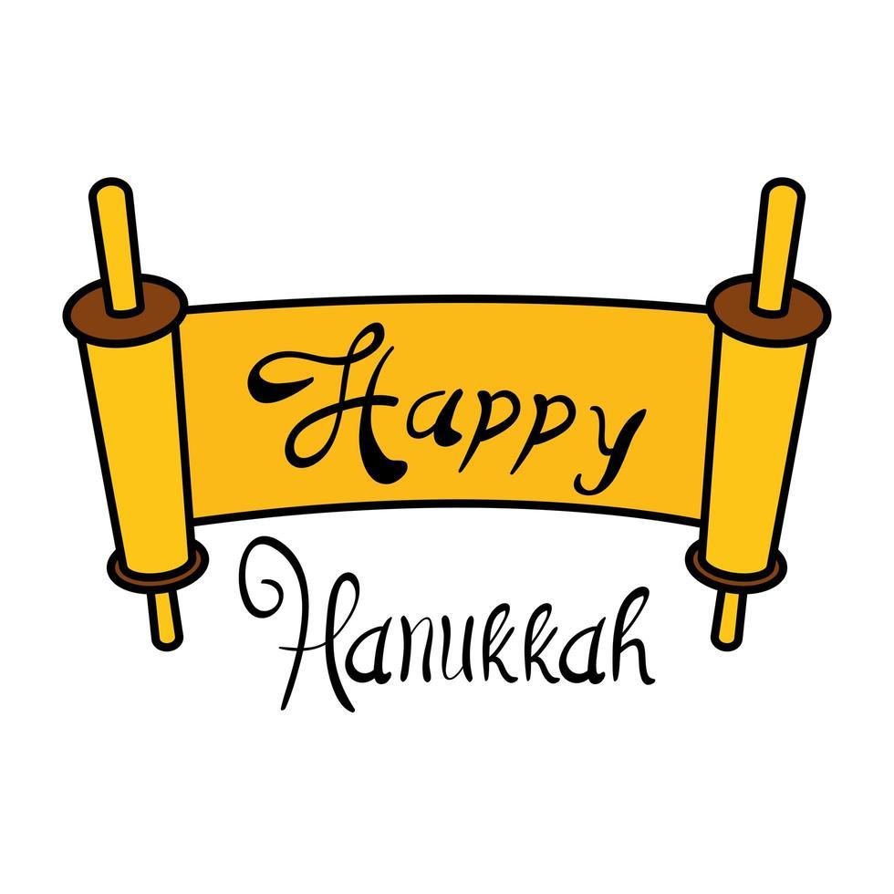 parchemin de hanukkah heureux avec lettrage design illustration vectorielle vecteur