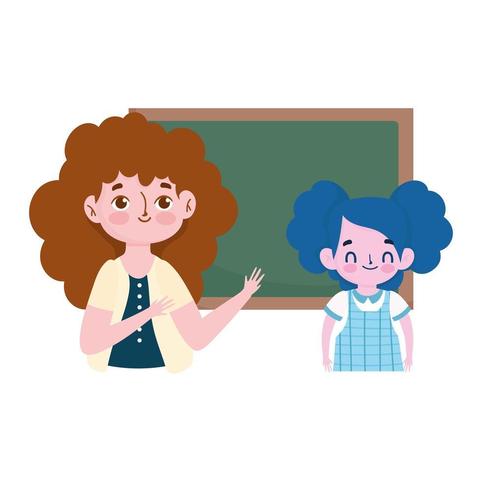 Bonne Journee Des Enseignants Fille Etudiante De Professeur De Dessin Anime Et Tableau Noir Telecharger Vectoriel Gratuit Clipart Graphique Vecteur Dessins Et Pictogramme Gratuit