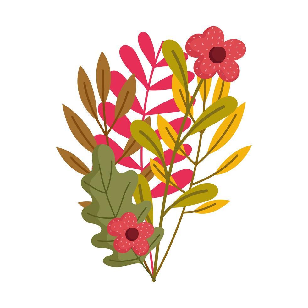 branche feuille fleurs décoration design icône isolé vecteur