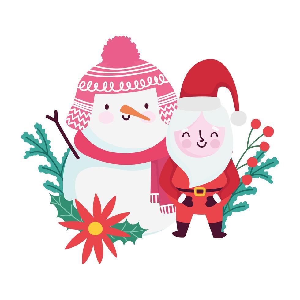joyeux noël, joli père noël et fleur de bonhomme de neige baie de houx, conception isolée vecteur