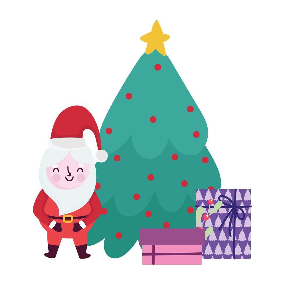 joyeux noël, dessin animé père noël arbre et coffrets cadeaux, conception isolée vecteur