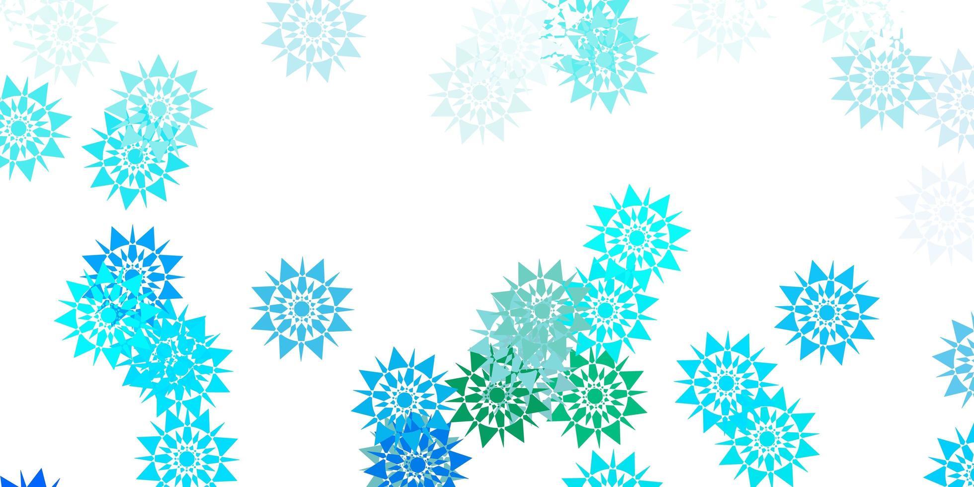 texture de vecteur bleu clair, vert avec des flocons de neige lumineux.