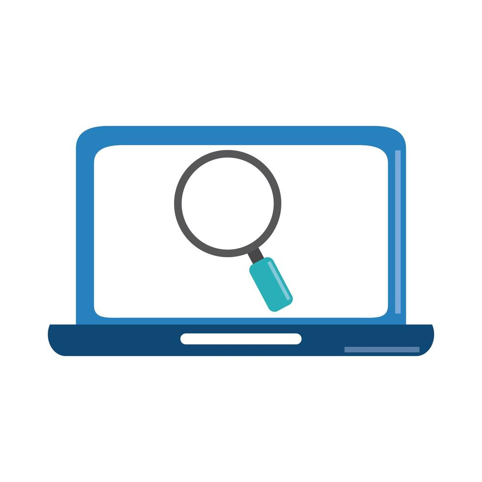 analyse de données, stratégie commerciale de loupe d'ordinateur portable et icône plate d'investissement vecteur