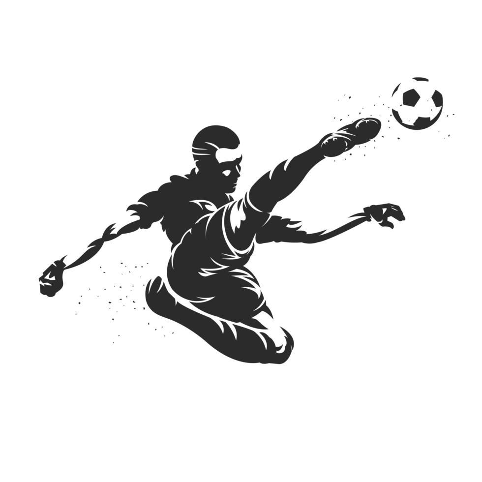 silhouette de joueur de football botter un ballon de football vecteur