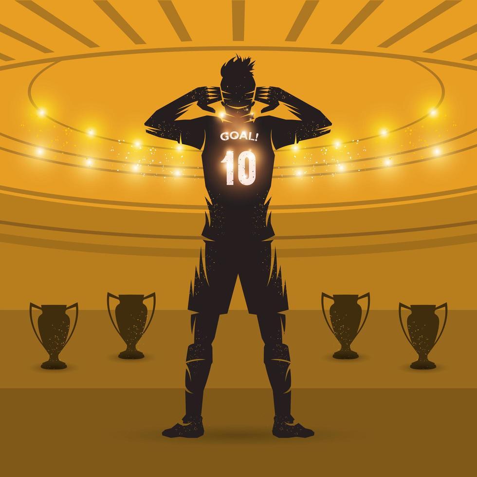footballeur, célébrant, but vecteur