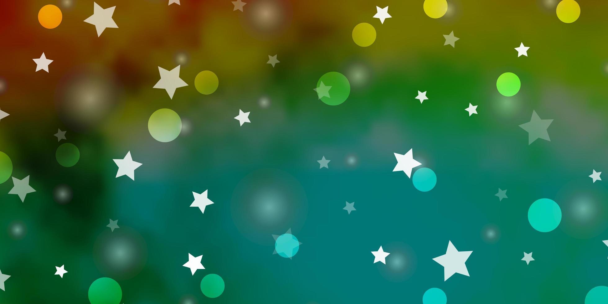 texture de vecteur vert clair, jaune avec des cercles, des étoiles.