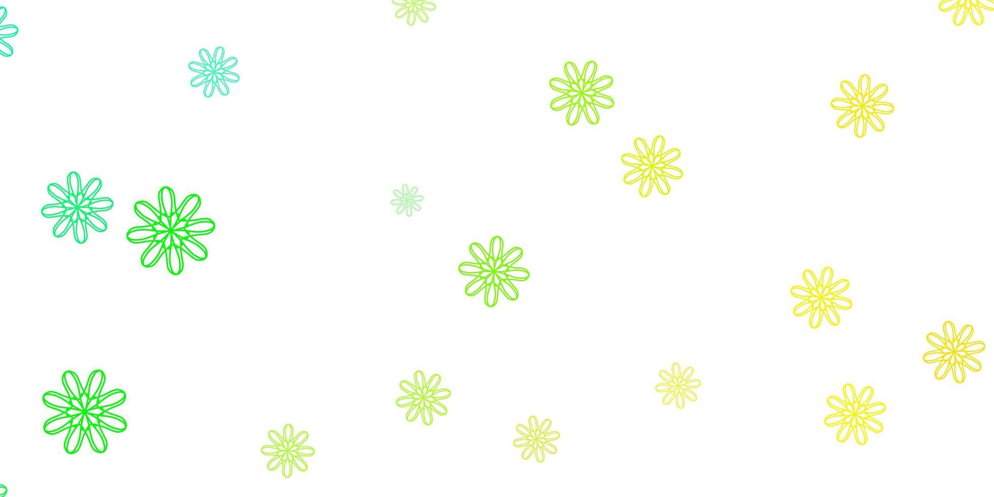 oeuvre naturelle de vecteur vert clair, jaune avec des fleurs.