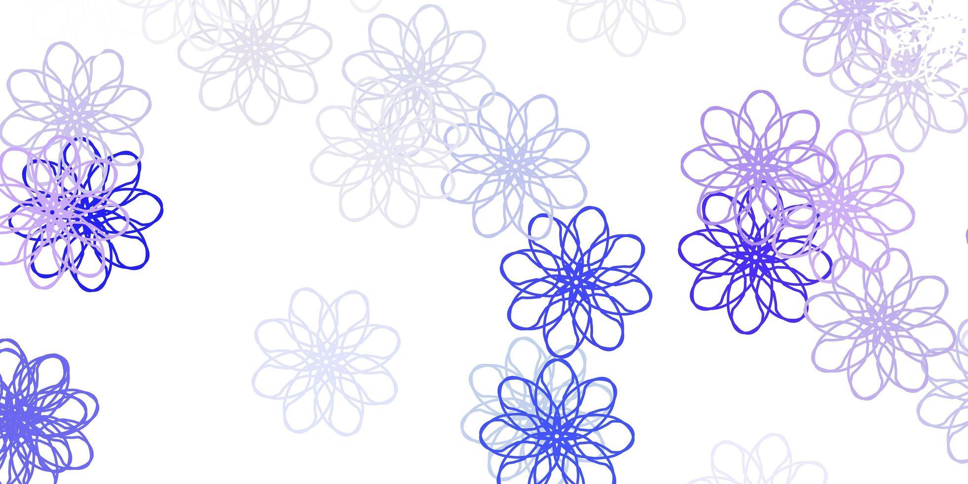 motif de doodle vecteur violet clair avec des fleurs.