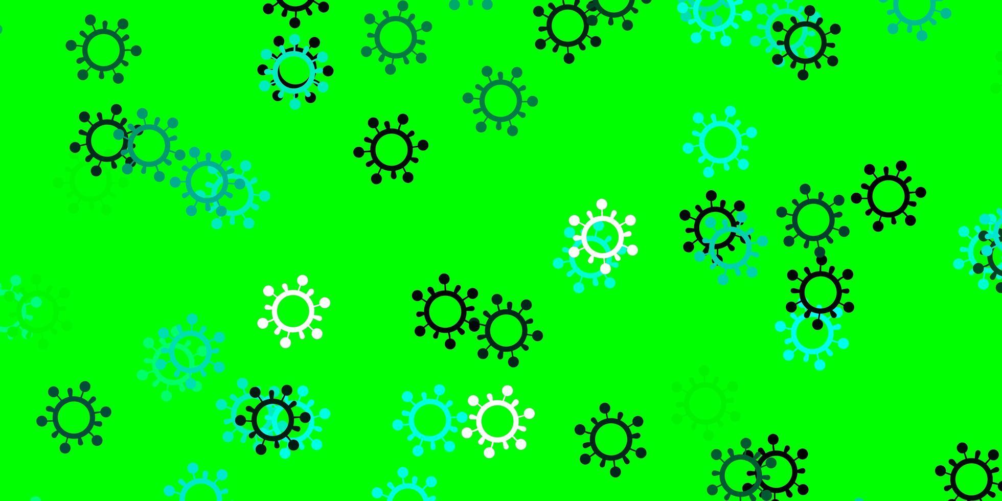 modèle vectoriel vert clair avec des éléments de coronavirus