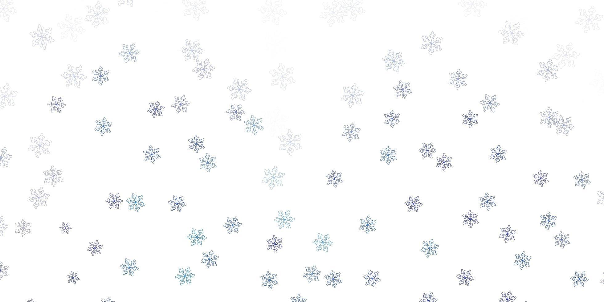 fond de doodle vecteur bleu clair avec des fleurs.