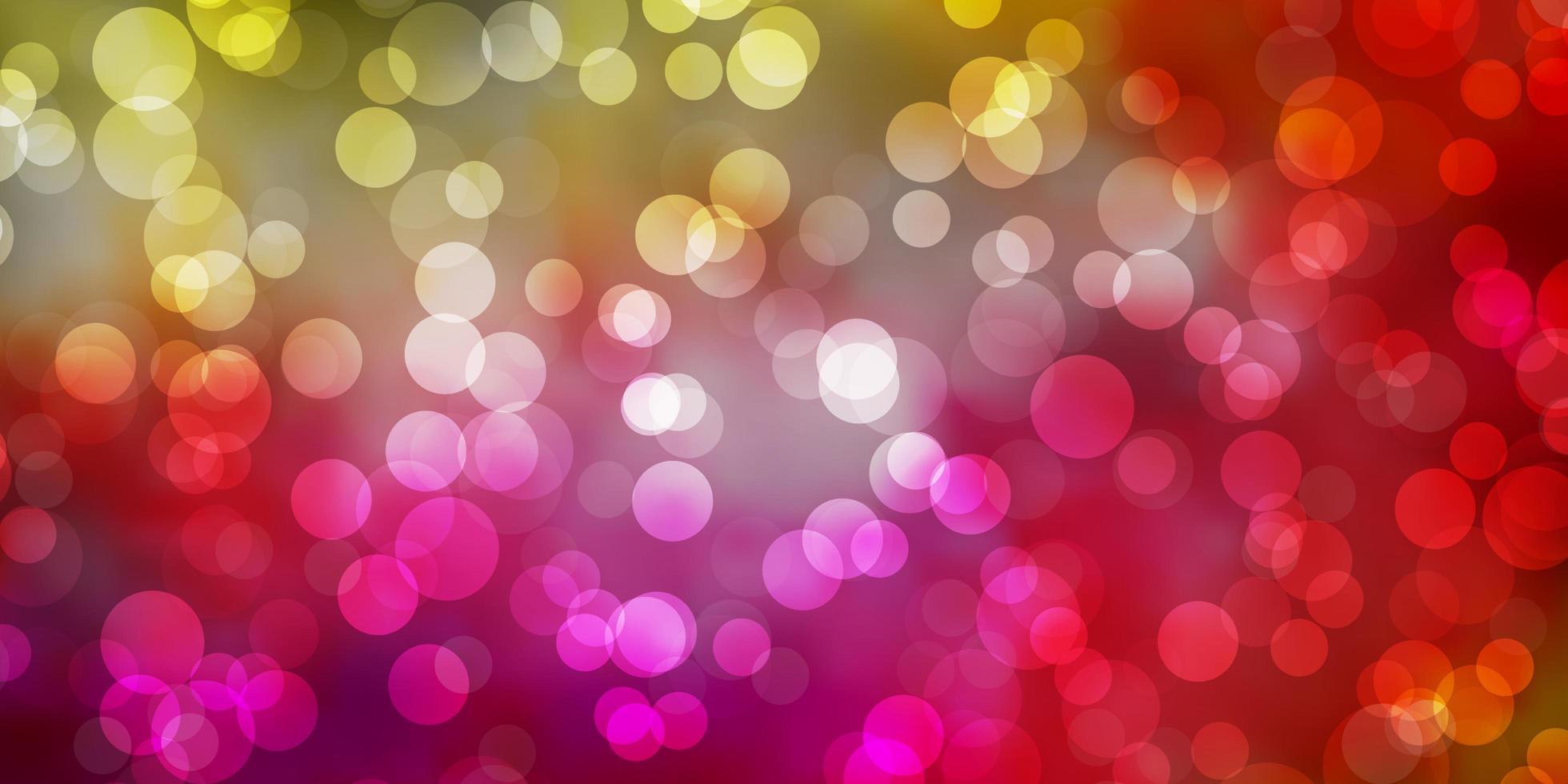 toile de fond de vecteur rose clair, jaune avec des cercles.