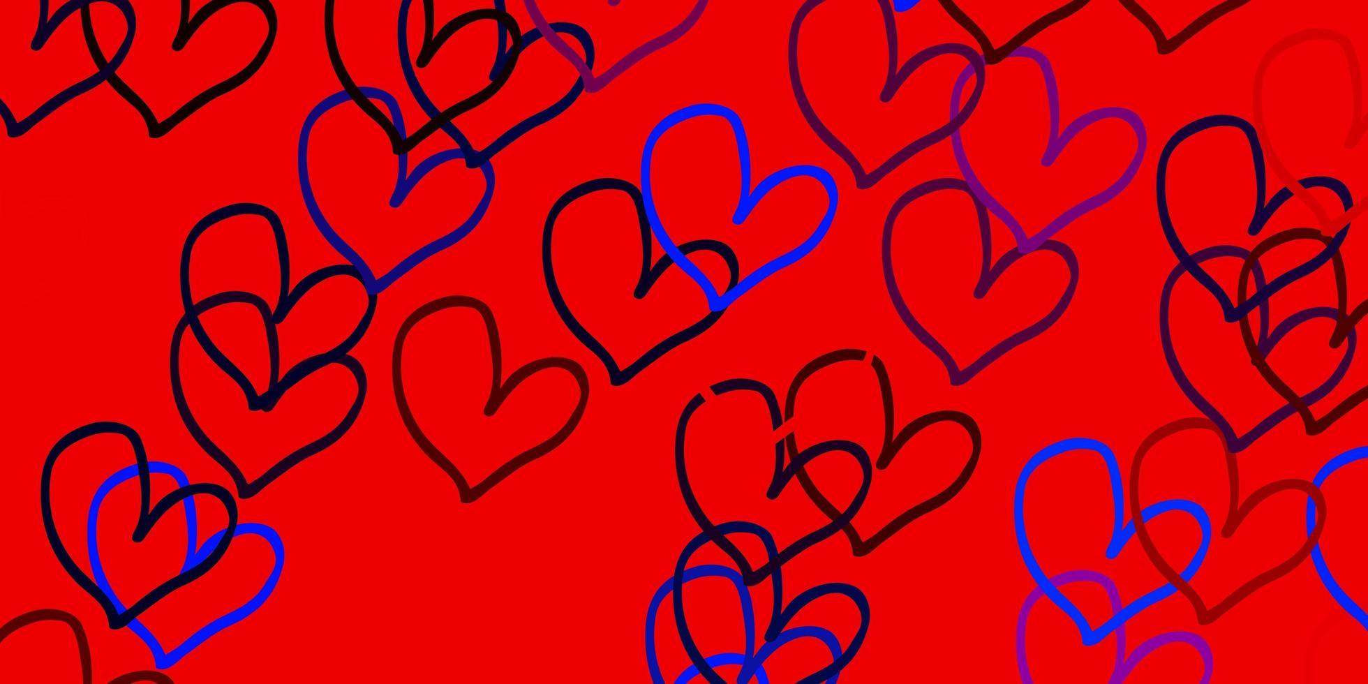 modèle vectoriel bleu clair, rouge avec des coeurs colorés.