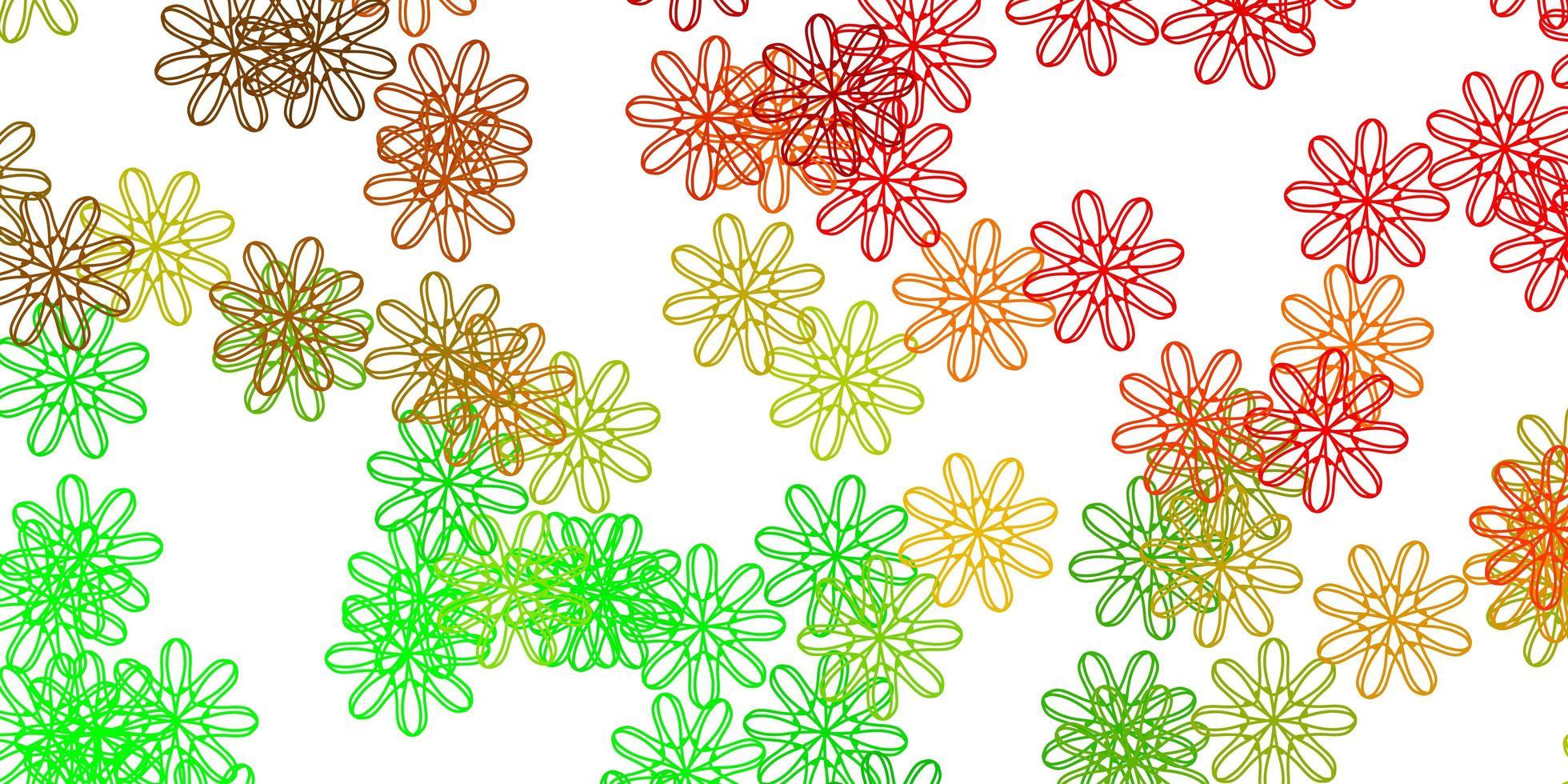 oeuvre naturelle de vecteur vert clair, rouge avec des fleurs.