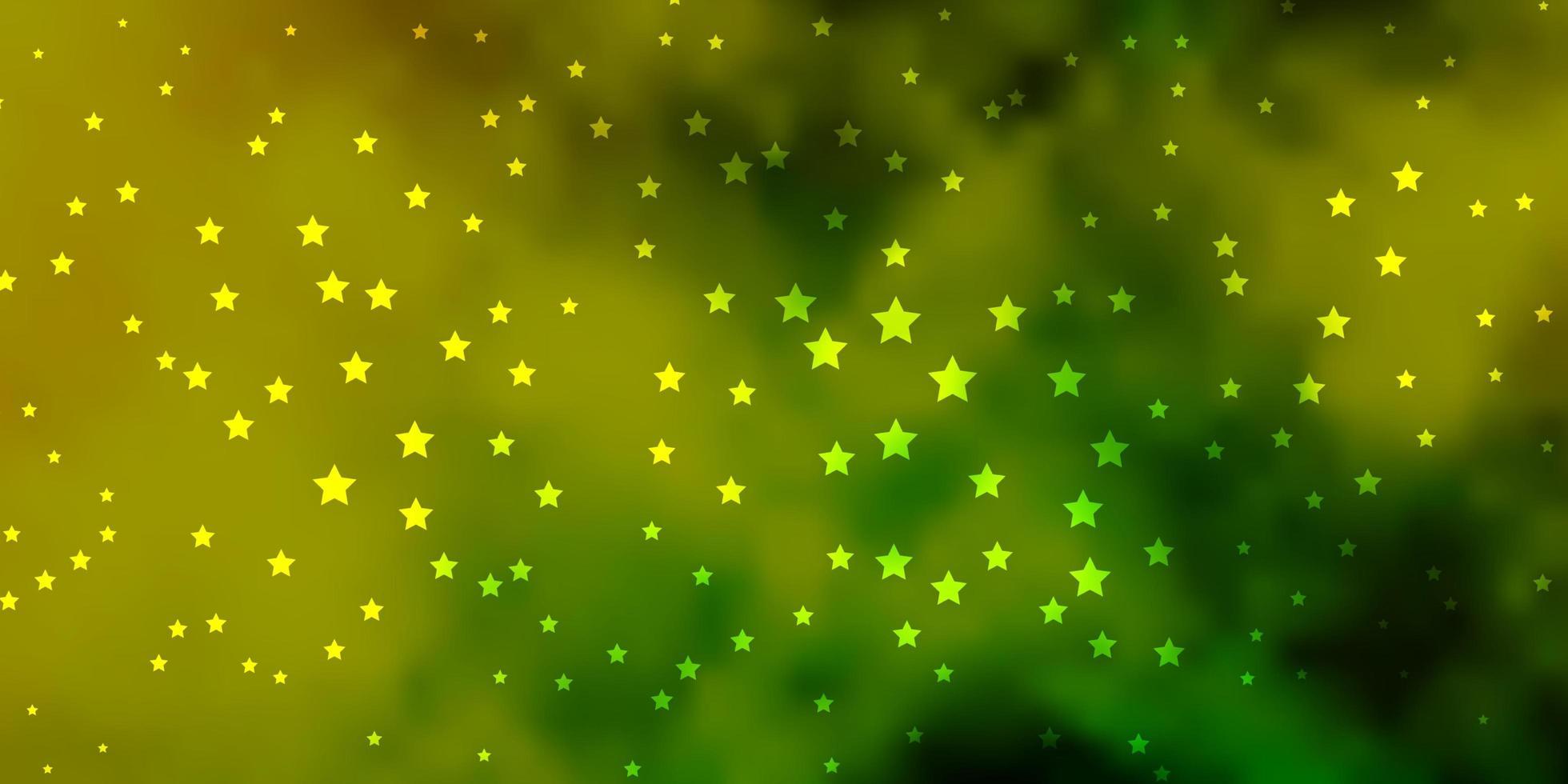 fond de vecteur vert foncé, jaune avec des étoiles colorées.