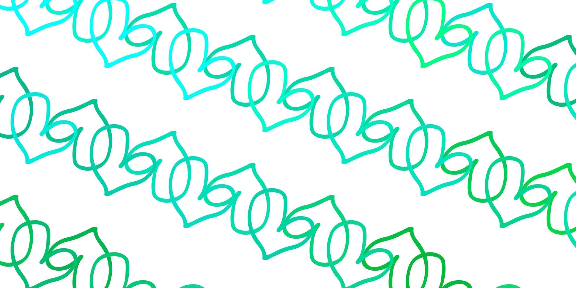 texture vecteur vert clair avec de beaux coeurs.