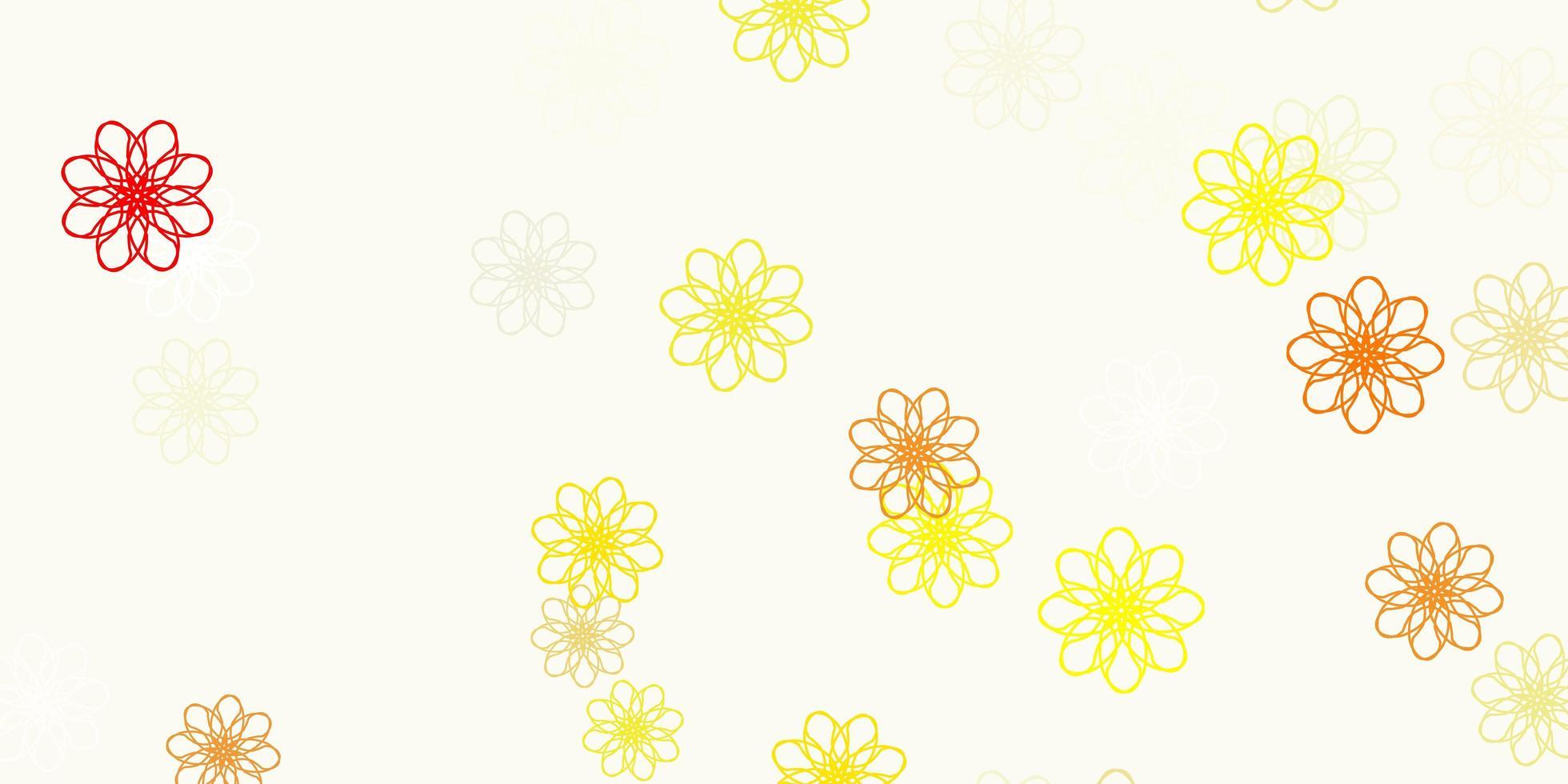 motif de doodle vecteur orange clair avec des fleurs.
