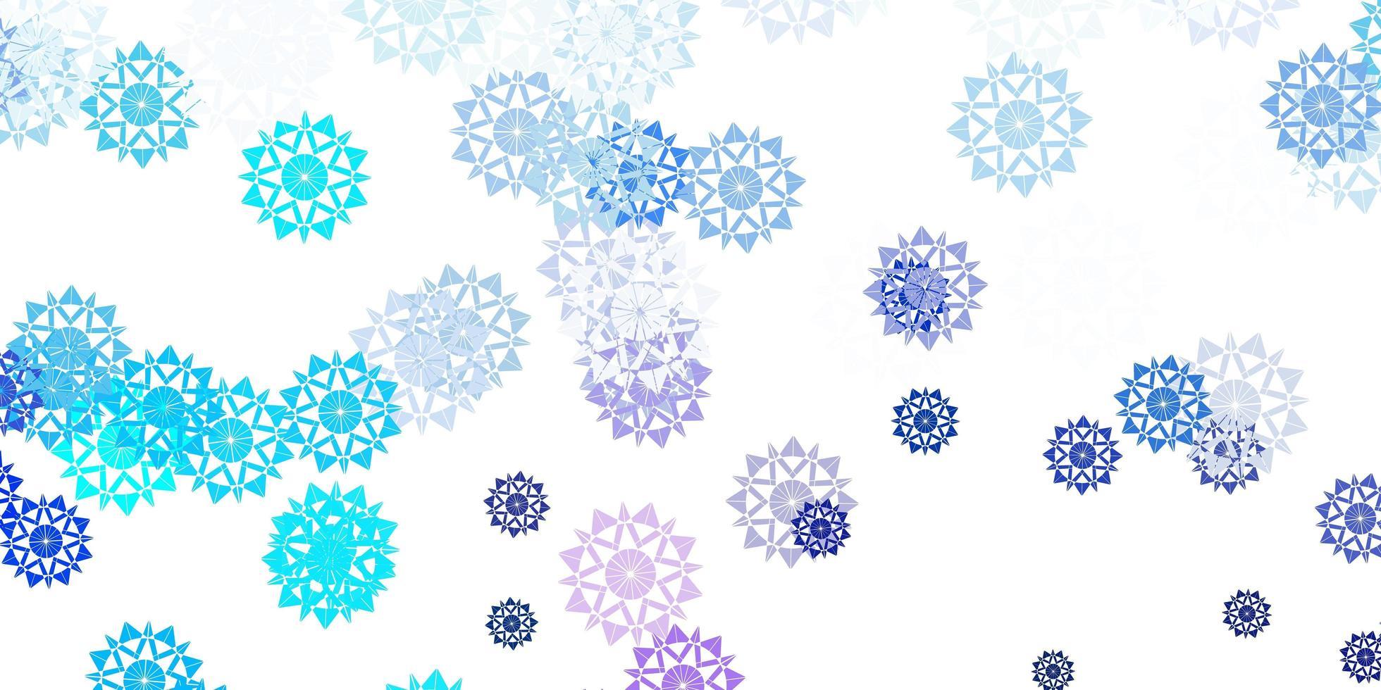 modèle vectoriel rose clair, bleu avec des flocons de neige de glace.