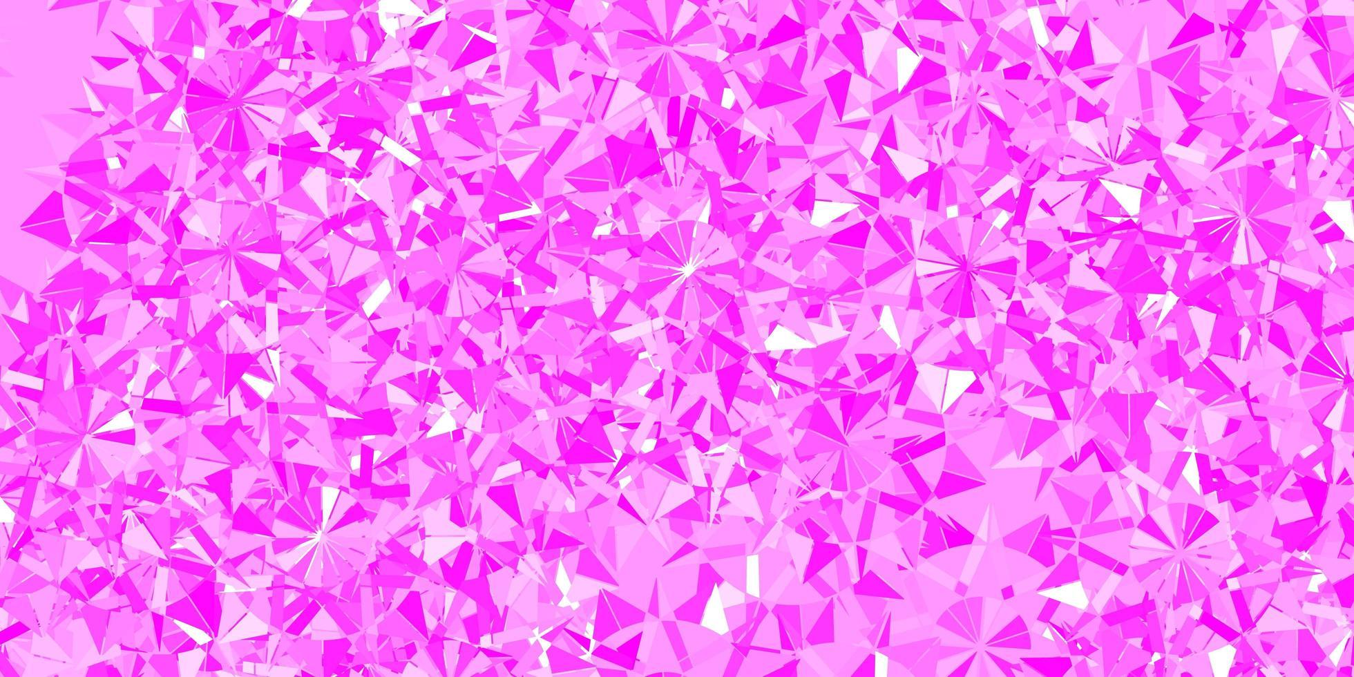 modèle vectoriel rose clair avec des flocons de neige de glace.