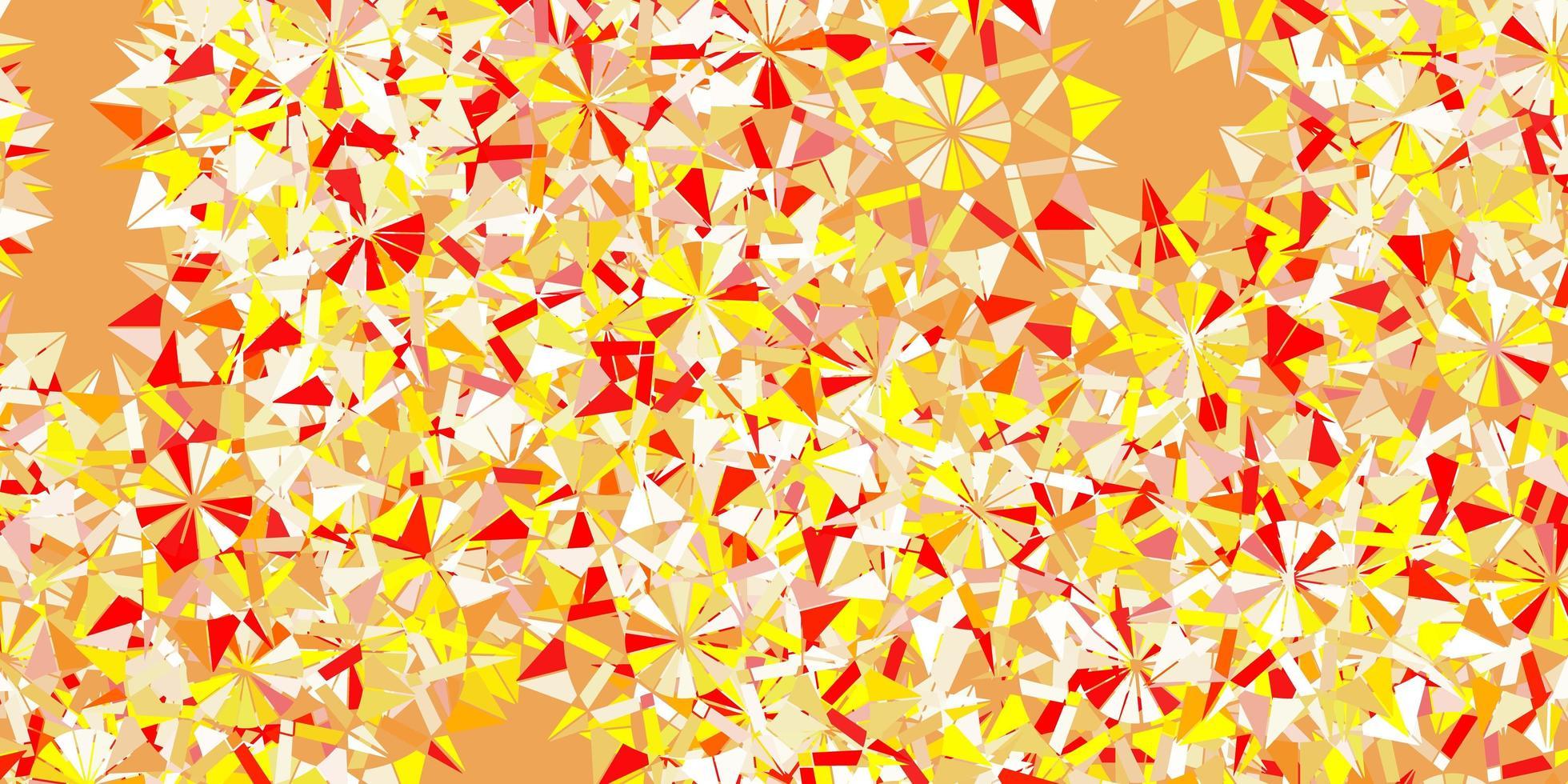 toile de fond de beaux flocons de neige vecteur rouge et jaune clair avec des fleurs.