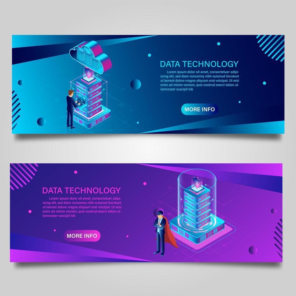 bannière de technologie de données pour les entreprises avec un design isométrique vecteur