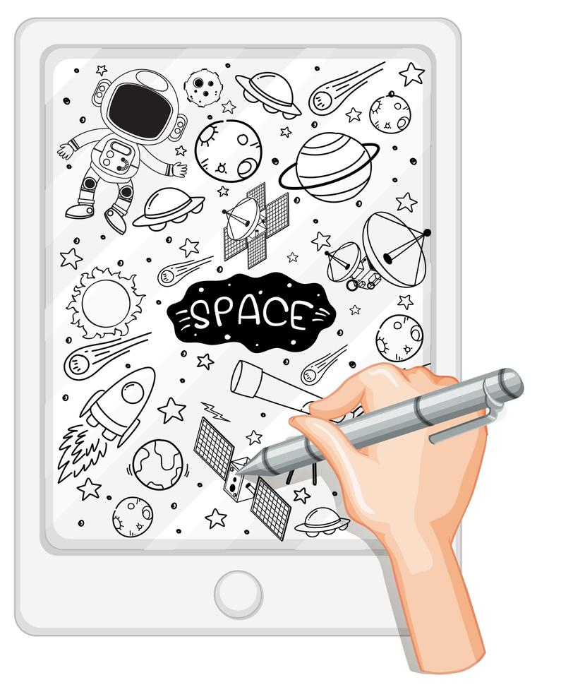 Élément d'espace de dessin à la main dans un style doodle ou croquis sur tablette vecteur