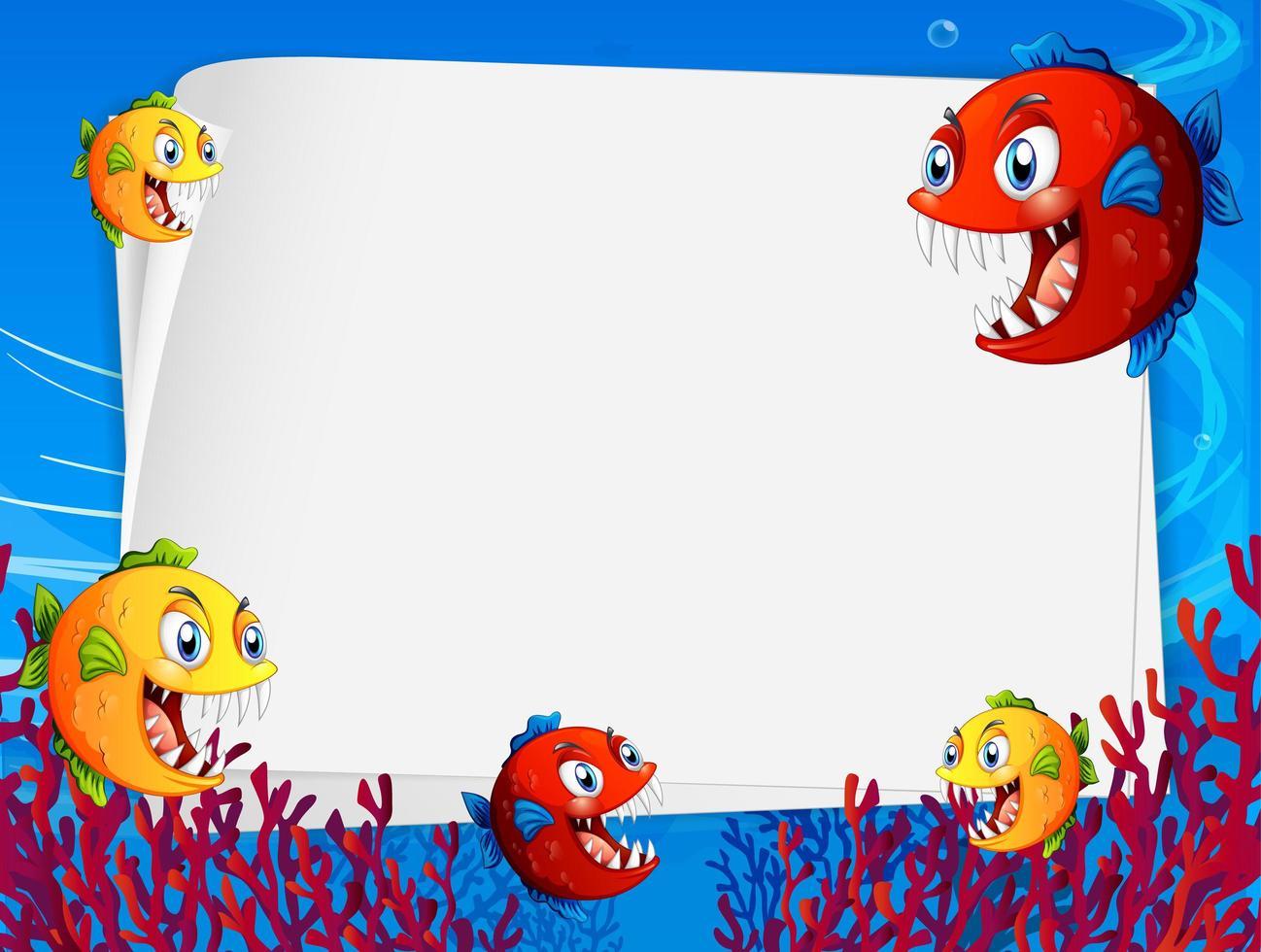 modèle de papier vierge avec personnage de dessin animé de poissons exotiques dans la scène sous-marine vecteur