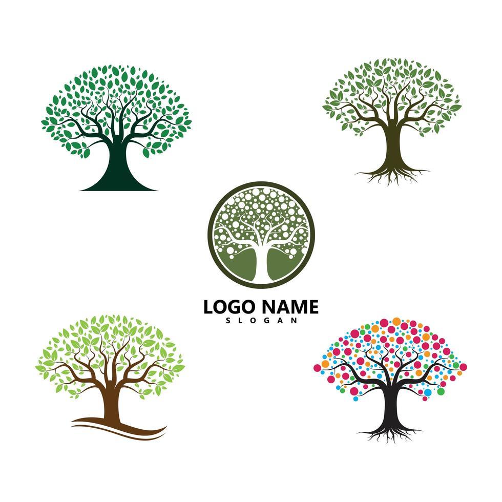 jeu d'icônes logo arbre vert vecteur
