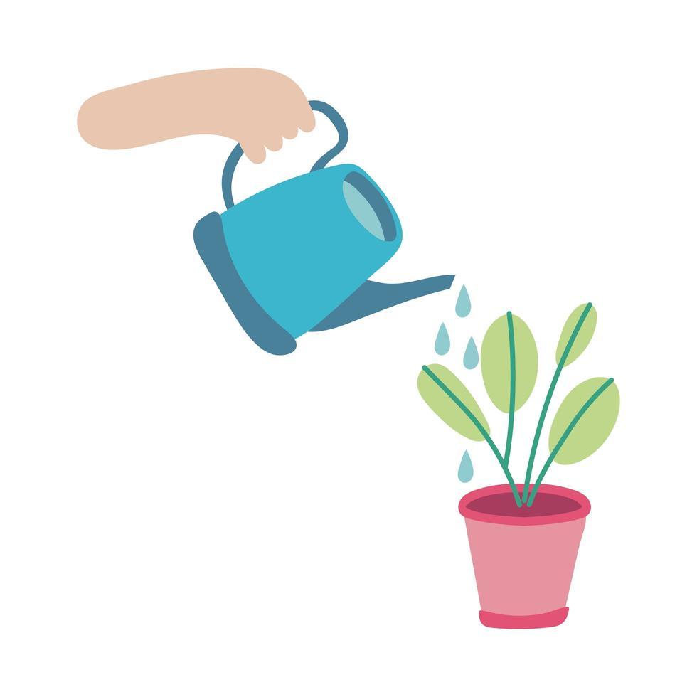 arroseur avec icône de style plat plante d'intérieur vecteur