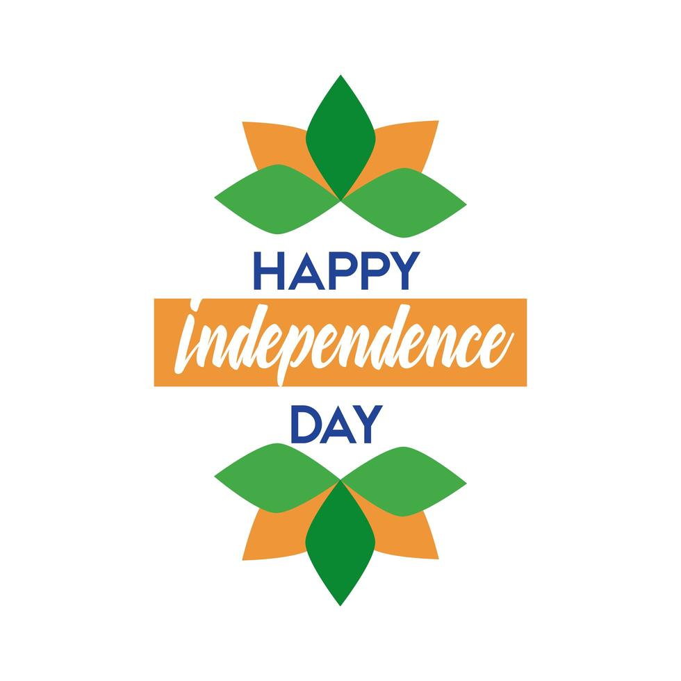 Célébration de la fête de l'indépendance de l'Inde avec la conception d'illustration vectorielle style plat fleur de lotus vecteur