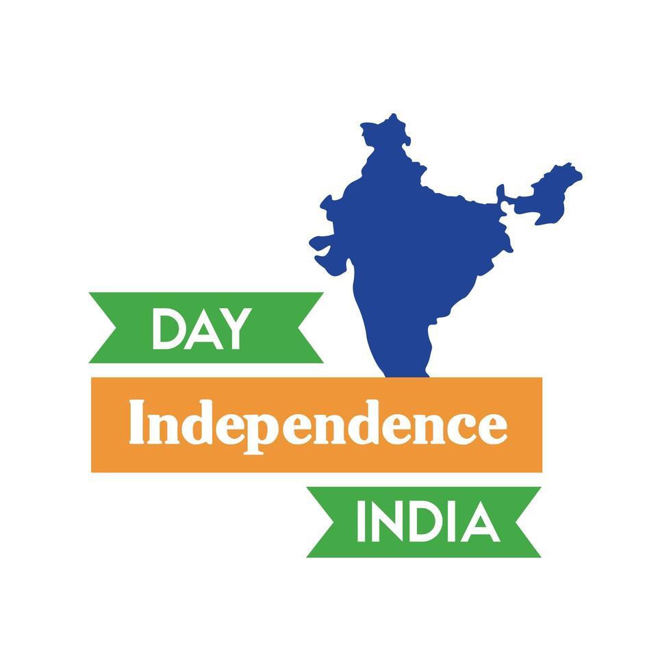 fête de l'indépendance de l'inde avec style plat carte vecteur