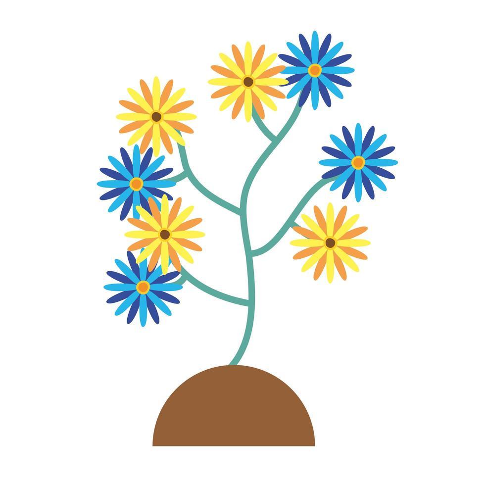 belles fleurs plantes dans le jardin vecteur