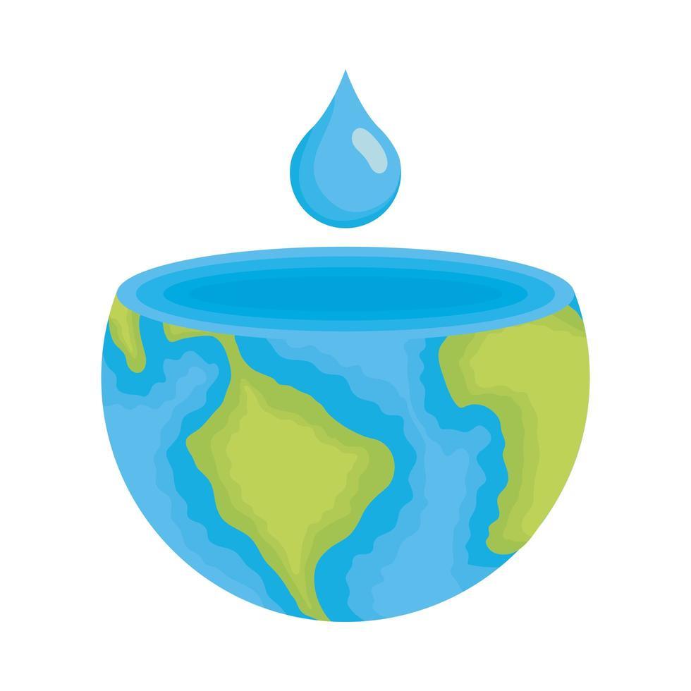 la moitié de la planète terre avec goutte d'eau vecteur