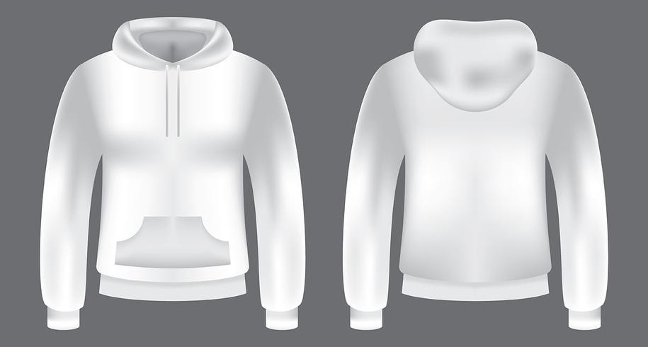 Modèle de Sweat-shirt à capuche blanc vecteur