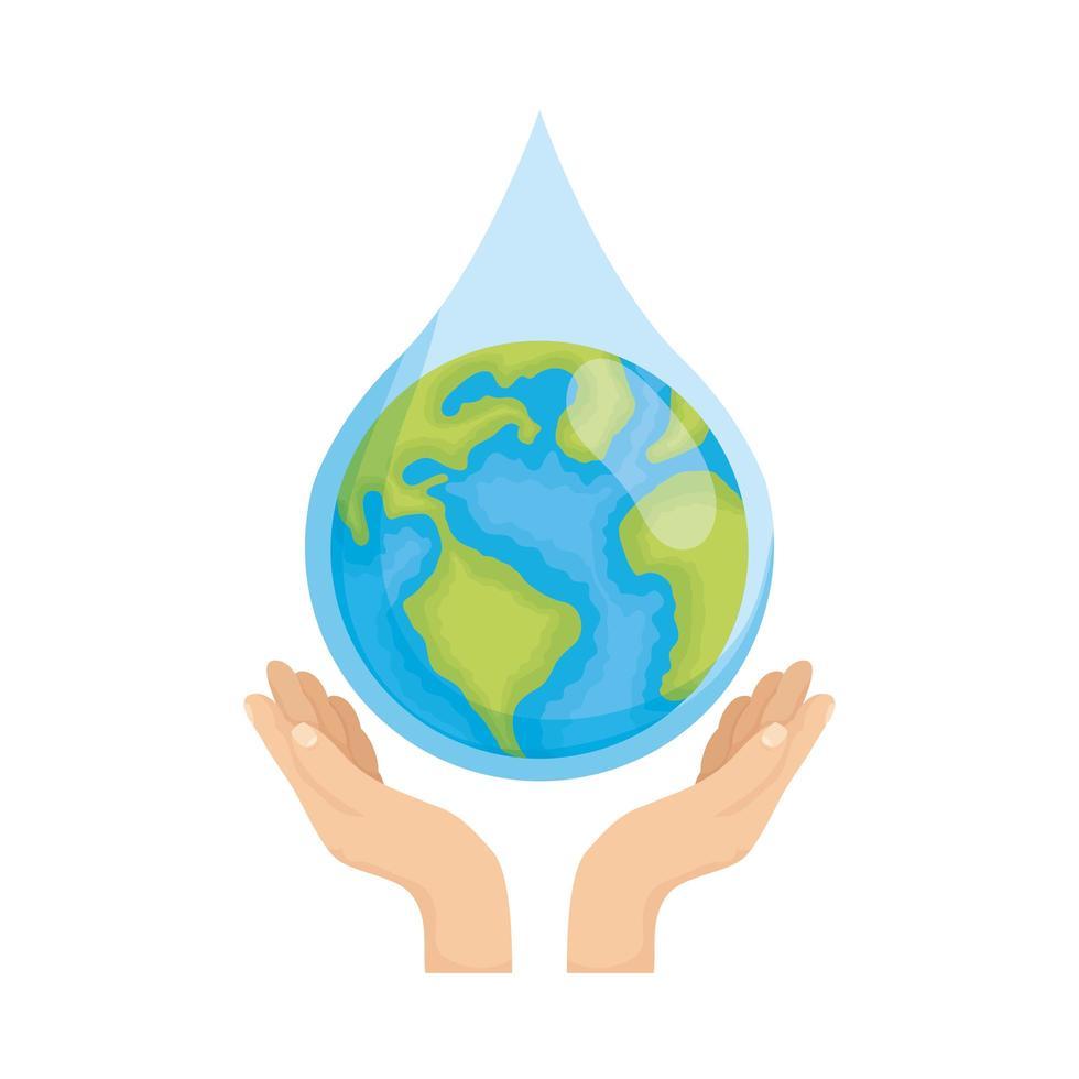mains soulevant la terre pour la journée de l'eau vecteur