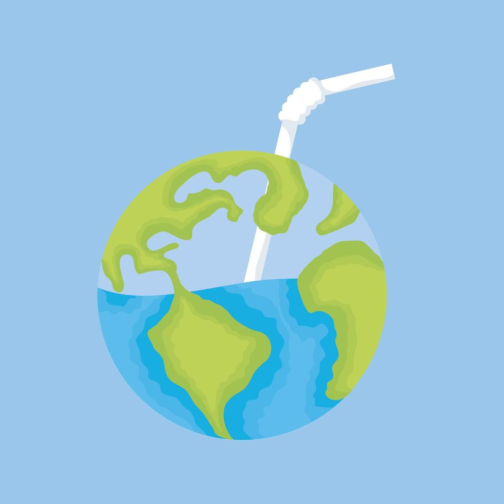 planète terre avec eau et paille vecteur