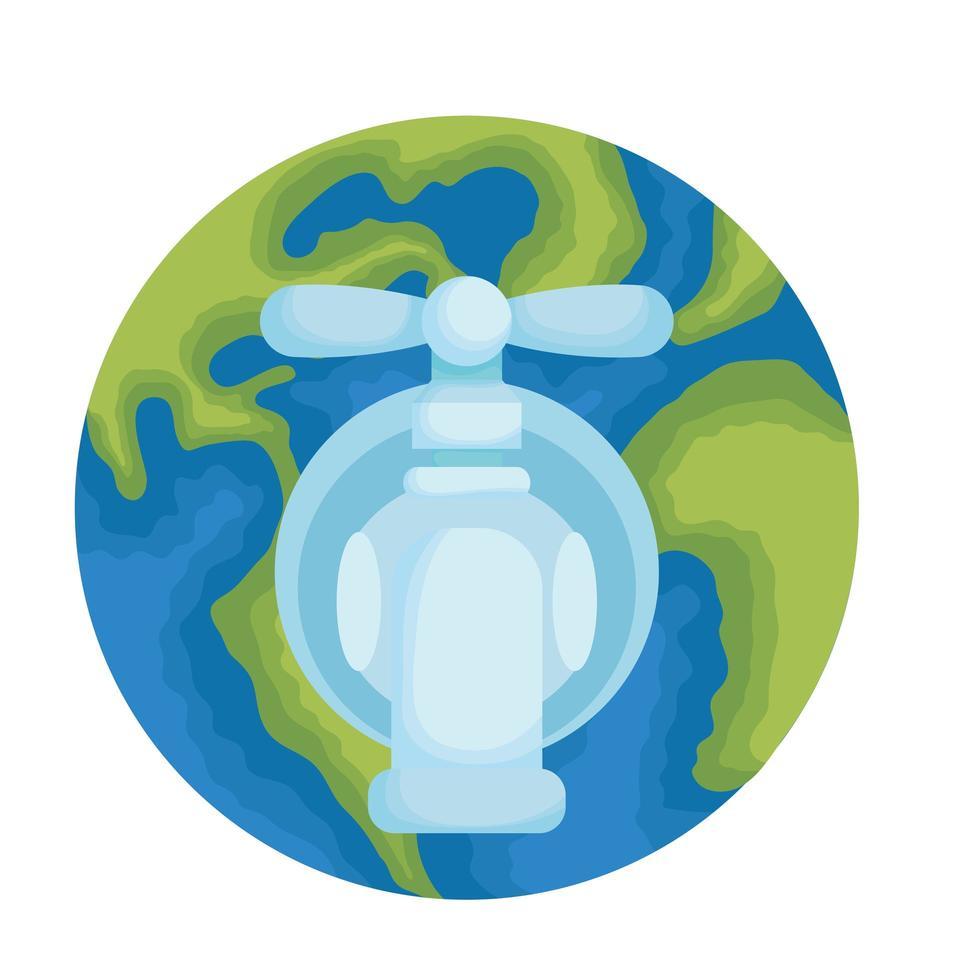 planète terre avec robinet d'eau vecteur