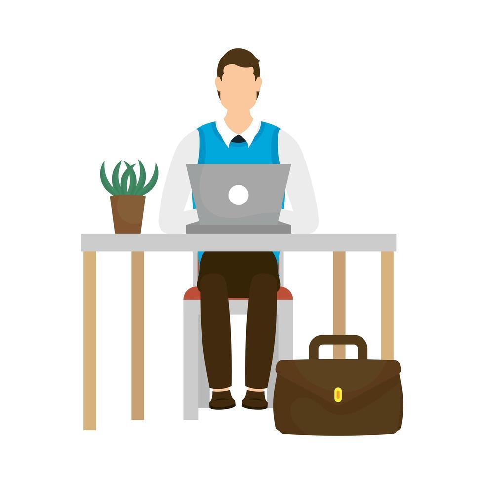 avatar homme d & # 39; affaires avec ordinateur portable sur la conception de vecteur de bureau