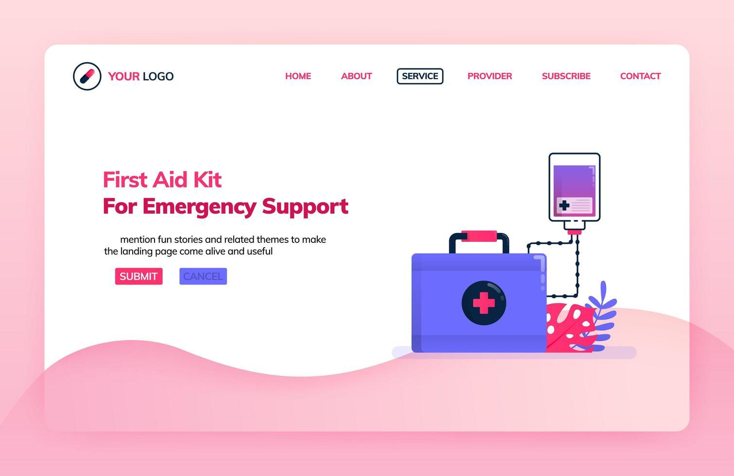 modèle d'illustration de page de destination de la trousse de premiers soins pour l'aide d'urgence. perfusion pour les services d'urgence. thèmes de santé. peut être utilisé pour la page de destination, le site Web, le Web, les applications mobiles, l'affiche, le dépliant vecteur