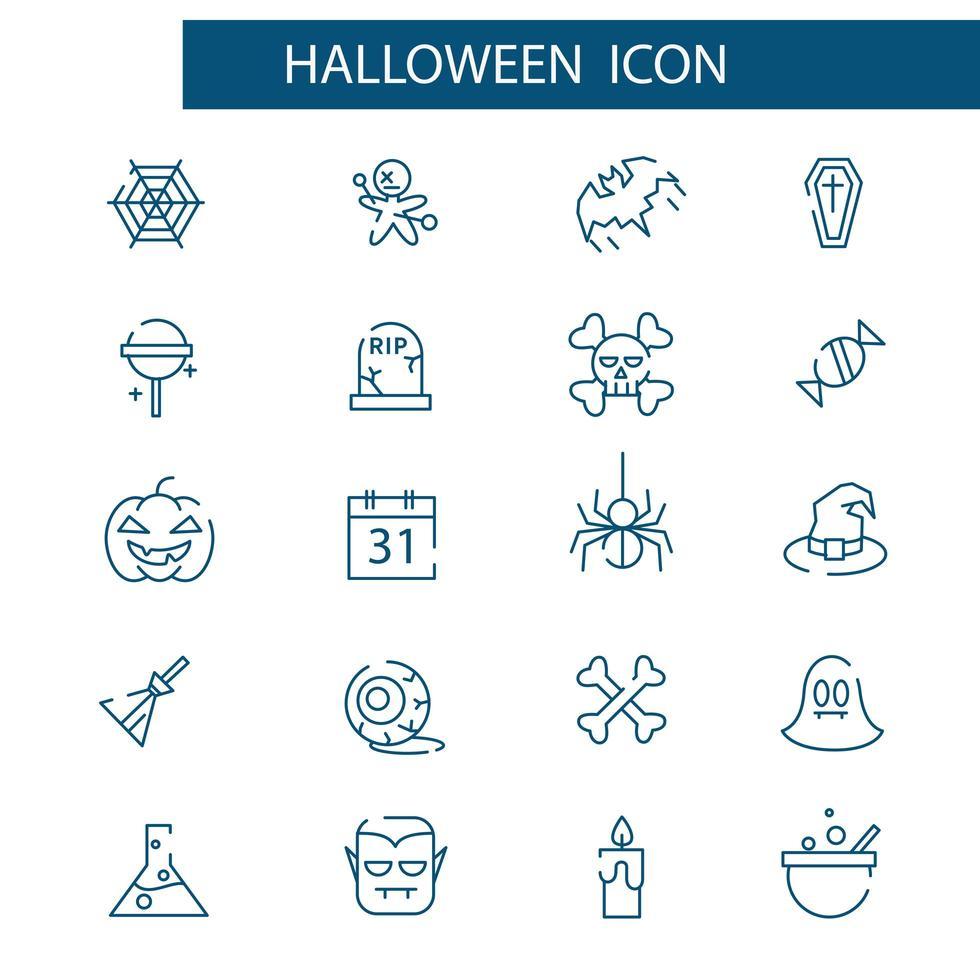jeu d'icônes de fine ligne halloween. pack de symboles linéaires vectoriels. vecteur