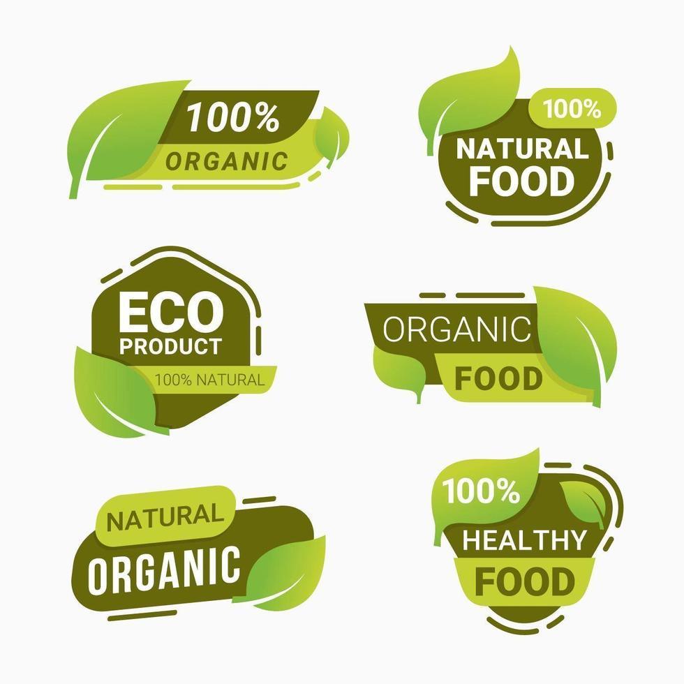 badge de produit naturel frais autocollant et étiquettes de produits alimentaires végétariens sains vecteur