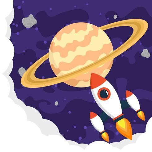 Planète Saturne arrière-plan plat vecteur