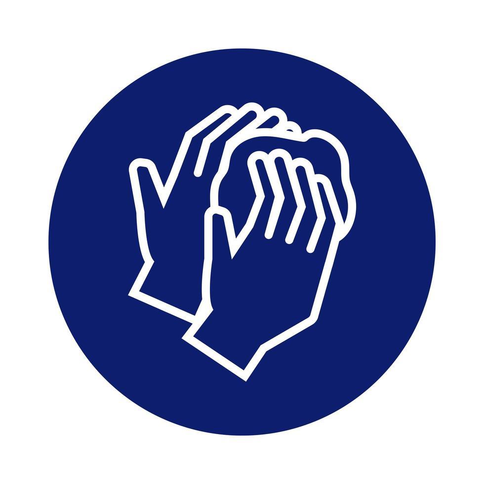 laver les mains avec l'icône de style de bloc de mousse vecteur