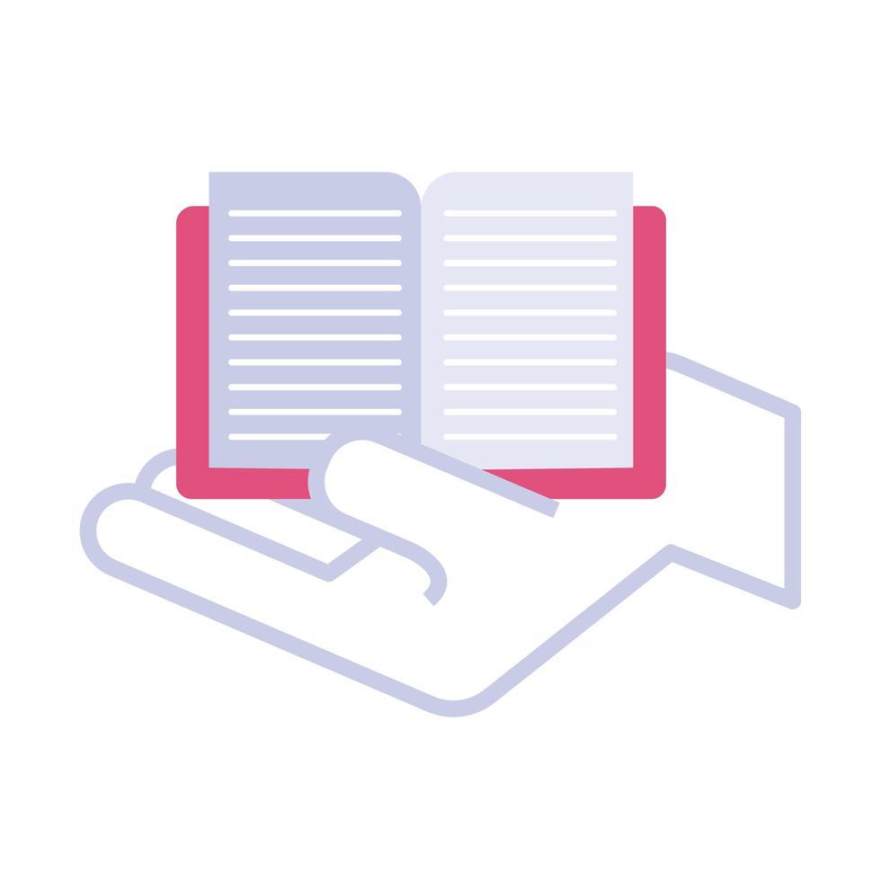 main avec icône de style plat livre texte vecteur