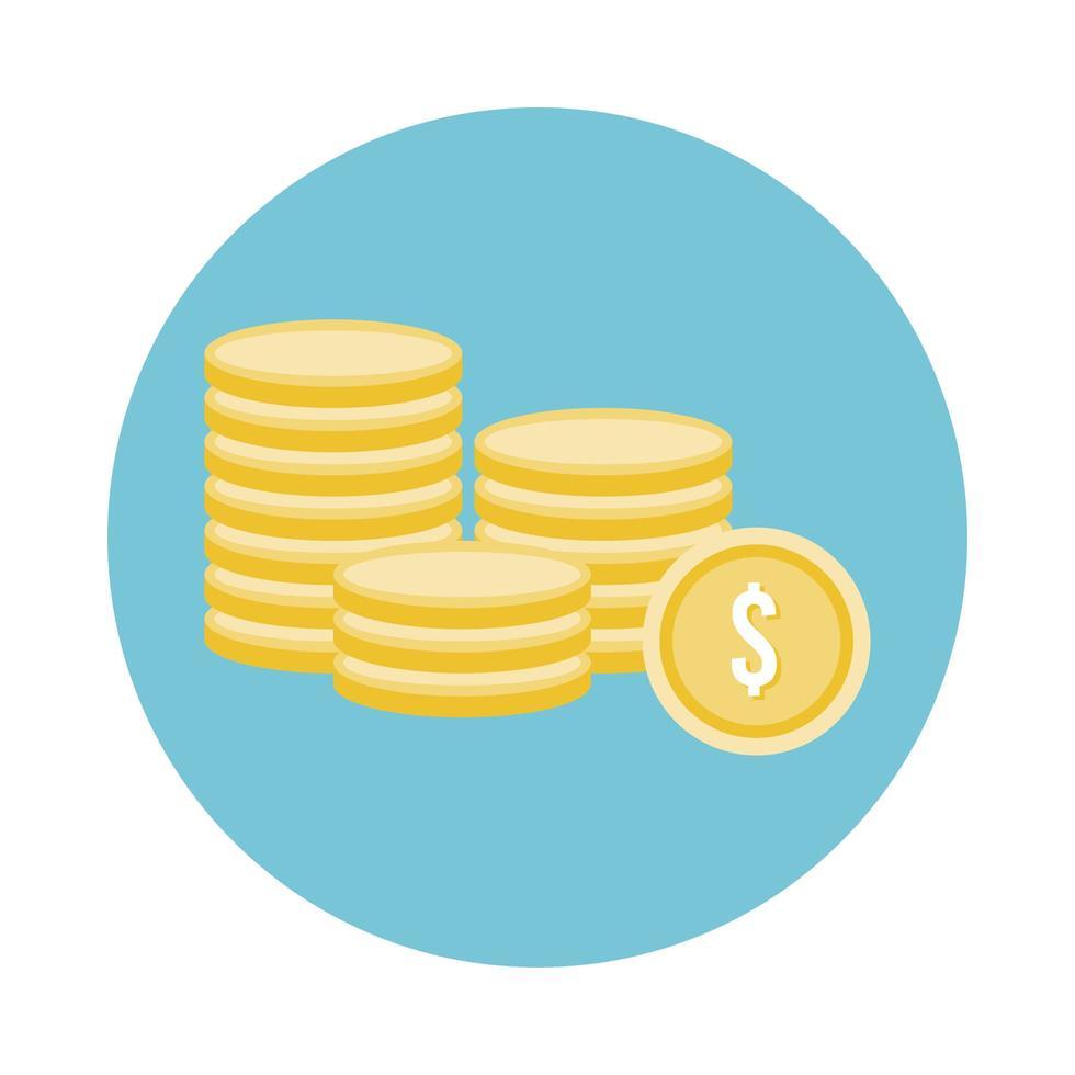 Icône de style de bloc de pièces de monnaie argent dollars vecteur