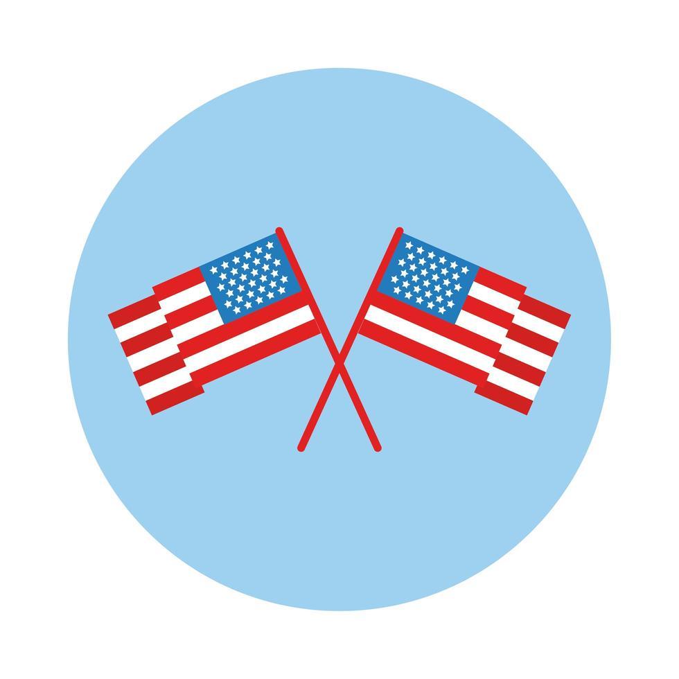 drapeau américain croisé icône de style de bloc vecteur