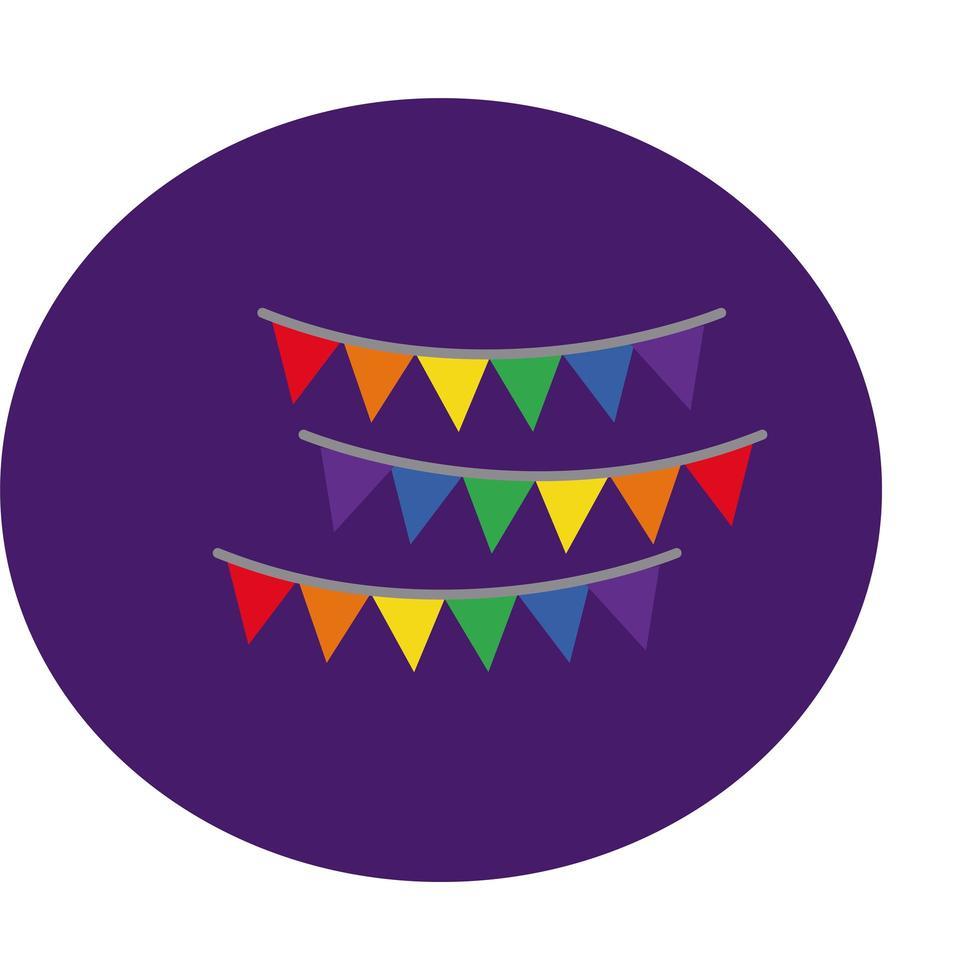 guirlandes suspendues avec style de bloc de couleurs de la fierté gay vecteur