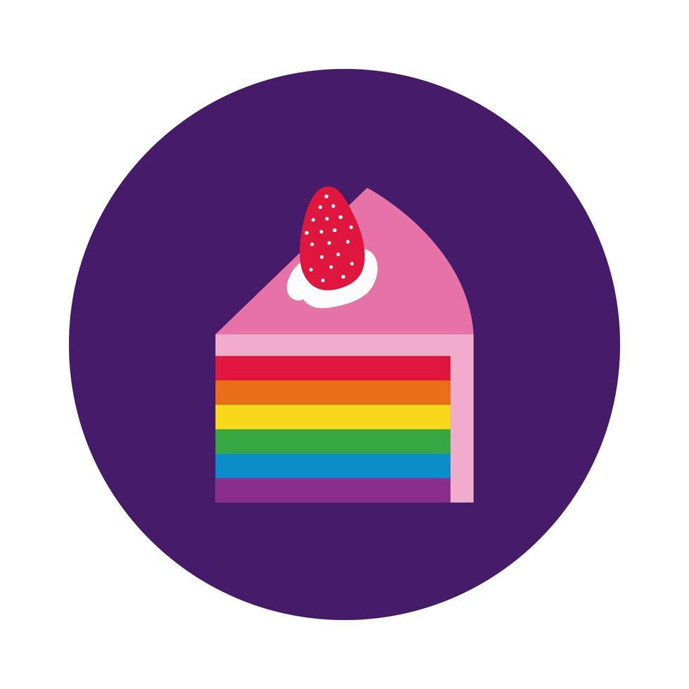 gâteau aux fraises avec style de bloc de drapeau de la fierté gay vecteur