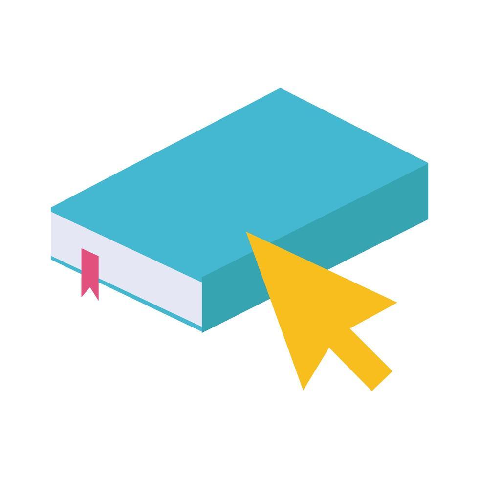 livre électronique avec style plat en ligne éducation flèche souris vecteur